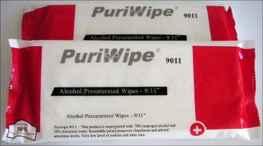 PuriWipe Alcohol Presaturated Wipes, 23x28cm, 24 wipes per  re-sealable pouch